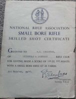 GB ATTESTATO NATIONAL RIFLE ASSOCIATION 1341