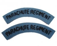 BRITISH PAIR OF HAND EMBROIDERED PATCHES PARACHUTE REGIMENT (REP