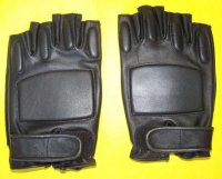 GLOVES MAD MAX FINGERLESS LEATHER BLACK