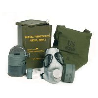 US GAS MASK M9A1 WITH FILTER AND POUCH AS NEW DEKO