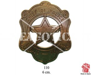 ENNIS TEXAS FIVE POINTED POLICE CHIEF METAL STAR